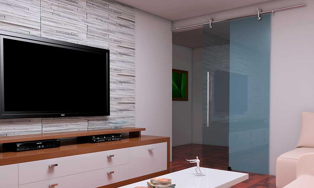 porta de vidro temperado sala